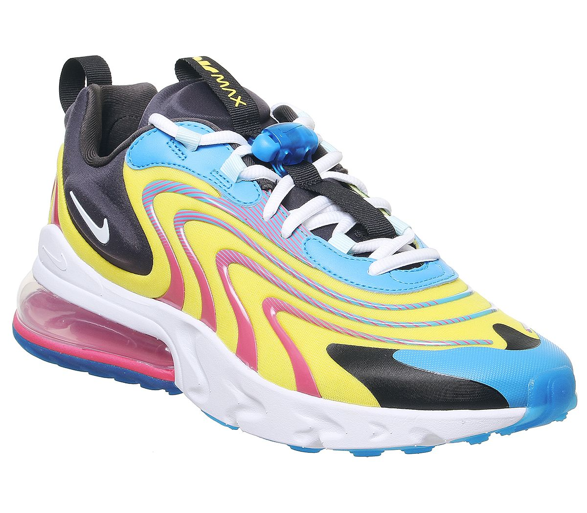 Nike Air Max 270 React Trainers Unisex Trainers Laser Blue White Anthracite Watermelon Opti Yellow 3764535159