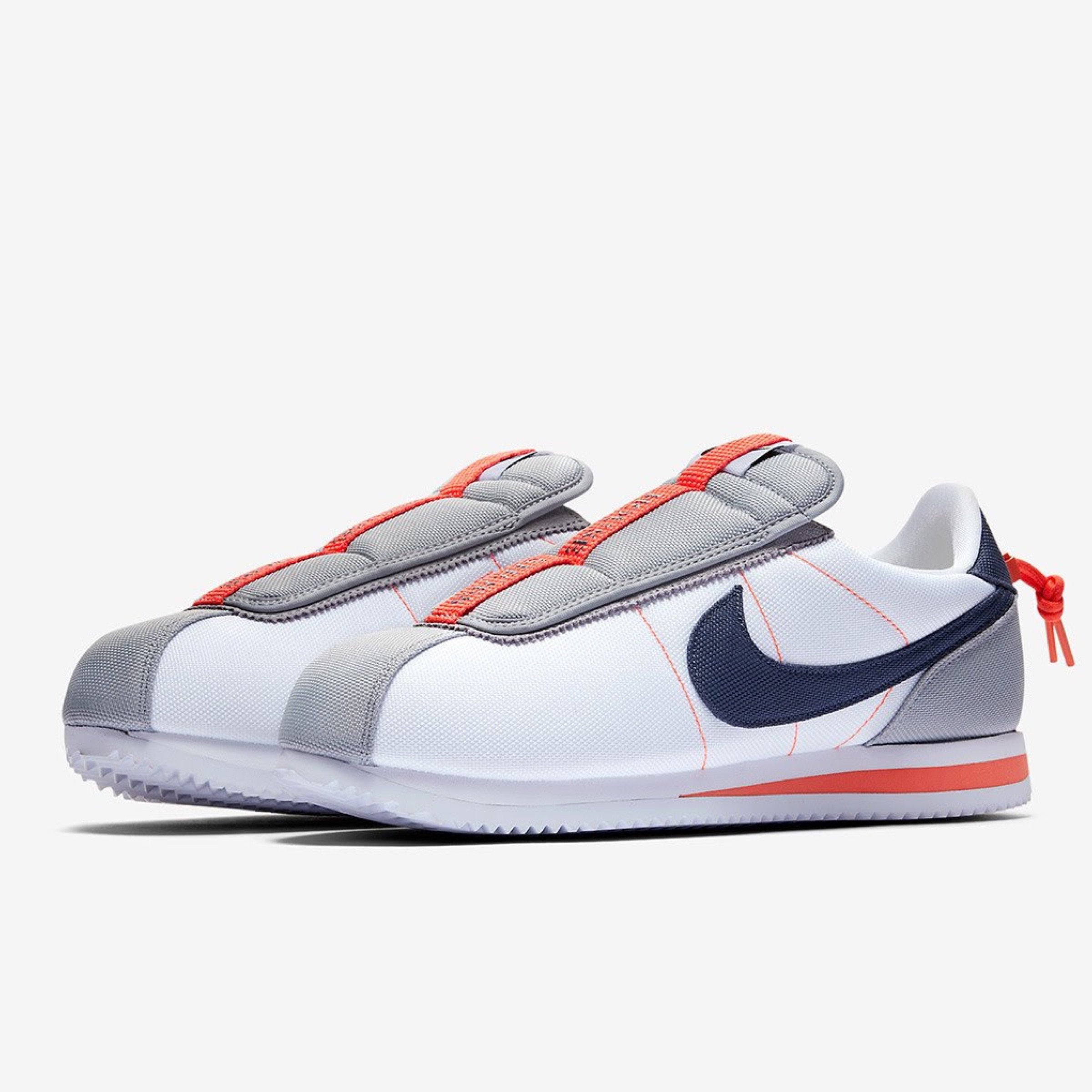 NIKE CORTEZ BASIC SLIP / KENDRICK LAMAR WHITE Running Unisex THUNDER BLUE-WOLF GREY-TURF ORANGE AV2950-100