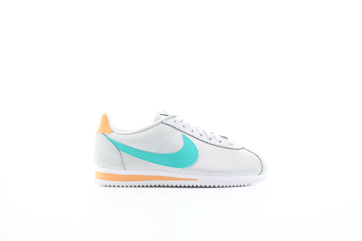 "NIKE WMNS CLASSIC CORTEZ LEATHER ""PURE PLATINUM"" Running Women HyperJade-FuelOrange 807471-019"