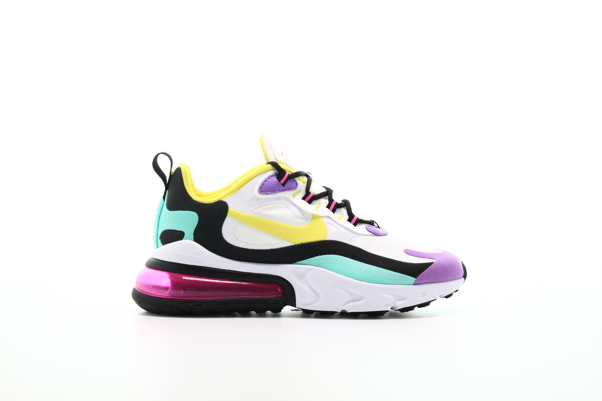 "Women NIKE WMNS AIR MAX 270 REACT ""DYNAMIC YELLOW"" Running White/DynamicYellow-Black-BrightViolet AT6174-101"