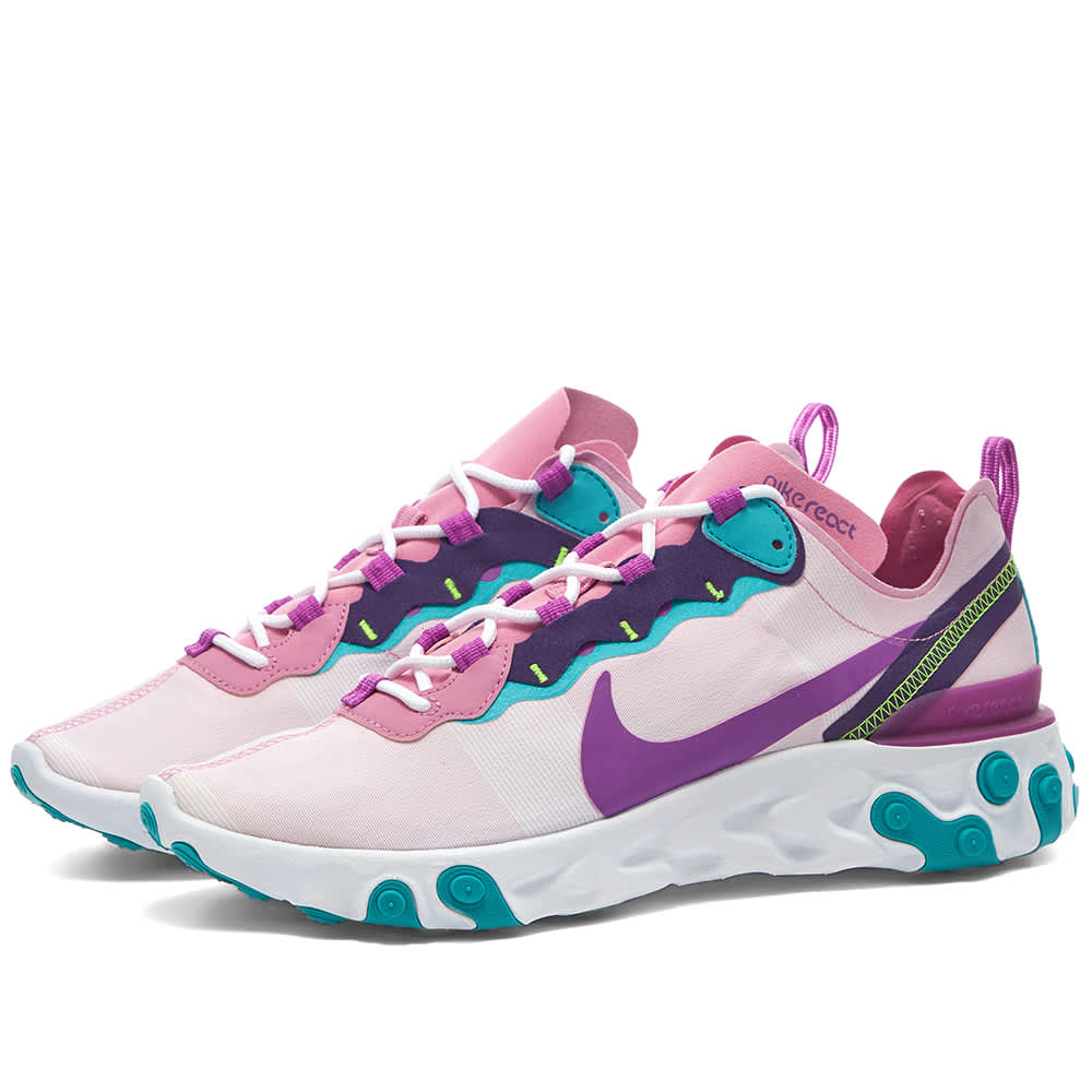 Women NIKE REACT ELEMENT 55 W Trainers FLAMINGO & PURPLE BQ2728-603