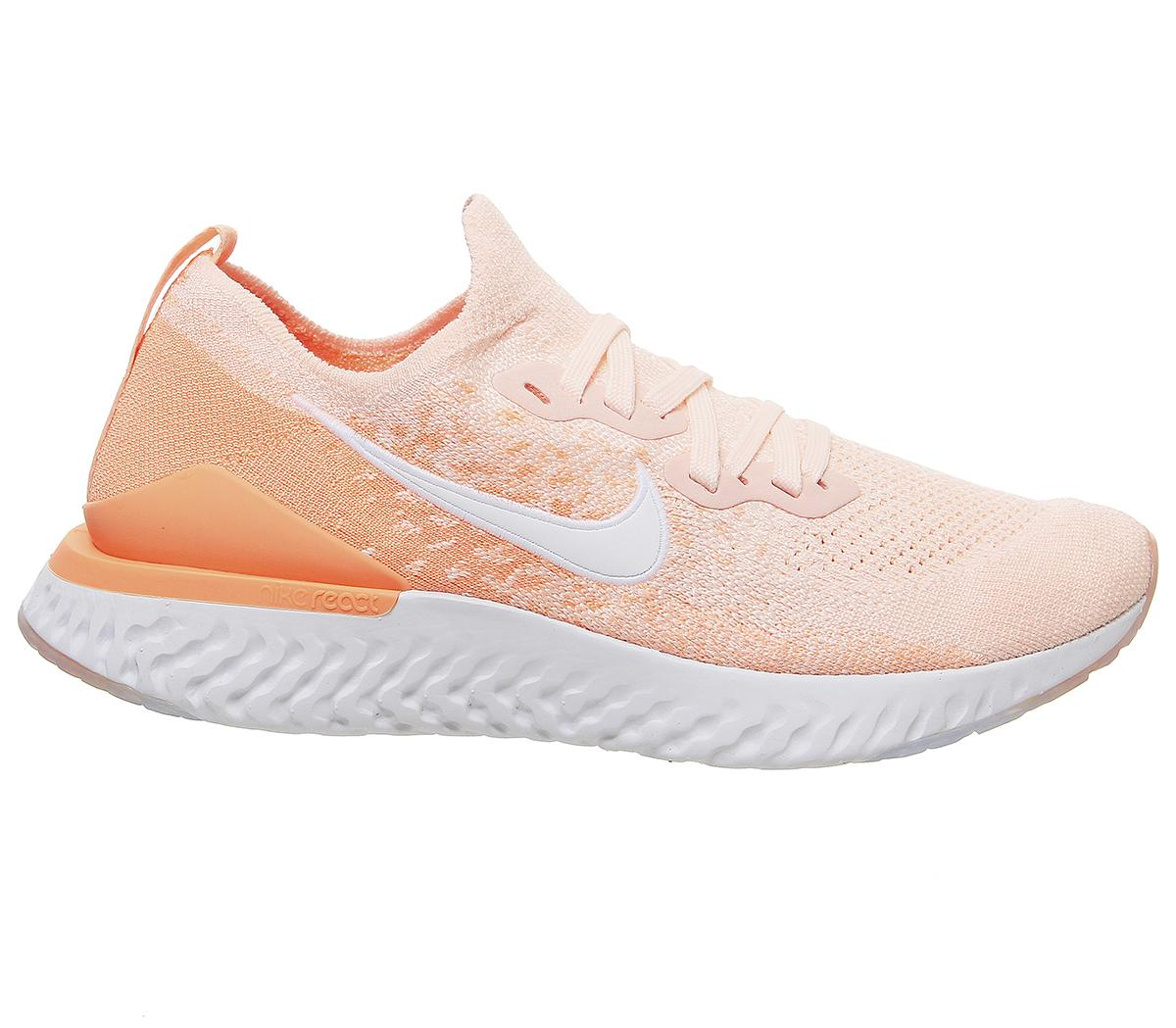 Women Nike Epic React Flyknit 2 Trainers Trainers Sunset Tint White Orange Pulse 3760962981