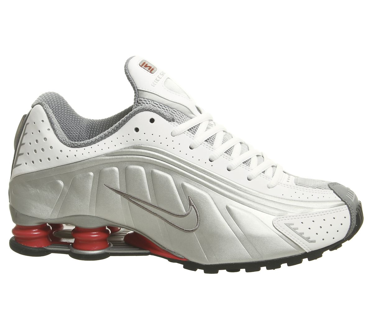 Men Nike Shox R4 Trainers Sneakers White Metallic Silver Cement Red Black 3349013886